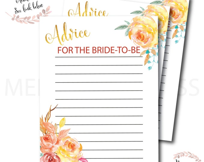 Fall Advice Card for the Bride to Be // Autumn Advice Card // Pumpkin // Bridal  Shower // Gold // Printed // CAPE BRETON COLLECTION