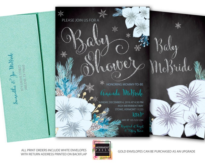 Winter Baby Shower Invitation / Snowflake Babyl Shower / Winter Baby Shower / Oh Baby / Blue //Teal /  Holiday / Silver / VERMONT COLLECTION