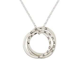 Personnalisée loic bague collier en argent Sterling, liées anneaux, collier de Triplet, bijoux personnalisés, noms de famille, or, or de Rose