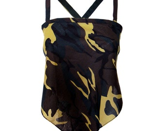 Women's Skimpy Adjustable Bandana Halter Top, Camouflage, One Size