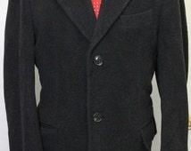 Vintage 44R Chaps Ralph Lauren Black Over Coat Long Jacket