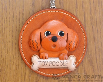 Toy poodle Leather Wall Decor *VANCA* Made in Japan #26626 Free Shipping