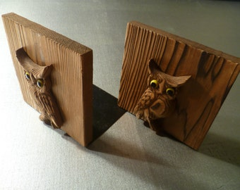 Vintage Owl Wooden Bookends -
