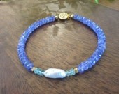Gorgeous High Quality Tanzanite Bracelet with an Elongated Pearl and Aquamarine Rondelles