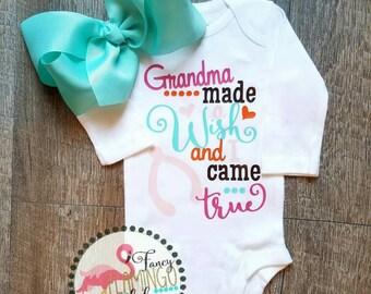 Customizable Grandma made a Wish and I came true Wish Bone Love Mommy Daddy Baby Girl Boy Toddler Onesie Tshirt Infertility Prayer Church