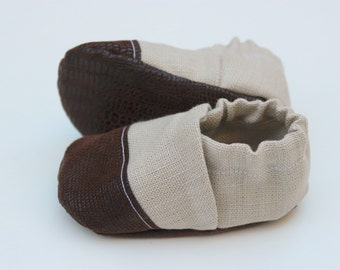 Linen Baby Moccasin, Cloth Baby Moccasin, Soft Soled Infant Shoe, Tan Moccasin, Leather Baby Shoe, Soft Sole Baby Shoes, Newborn Moccasin