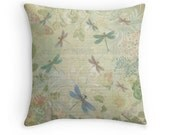 Dragonfly Gifts, Dragonfly Pillow, Dragonfly Decor, Shabby Chic Cushion, Pastel Cushion, Pretty Cushions, Vintage Decor, Pastel Throw Pillow