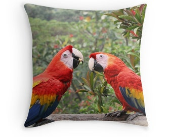 Two Birds, Bird Decor, Tropical Cushions, Scarlet Mackaws, Bird Gifts,  Parrots,Colorful Pillows,Colorful Decor,Birder Gifts,Tropical Decor