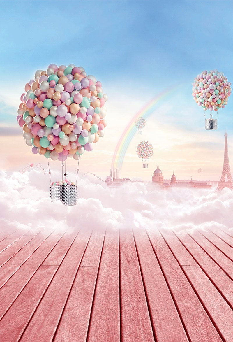 Hot Air Balloon In Sky With Clouds And Rainbow Photo Backdrop