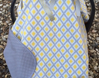 Grey, yellow, geometric, polka dot reversible baby car seat canopy