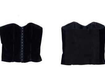 Black velvet bustier crop top size S M