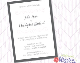 Pink & Gray - Printable Wedding Invitation