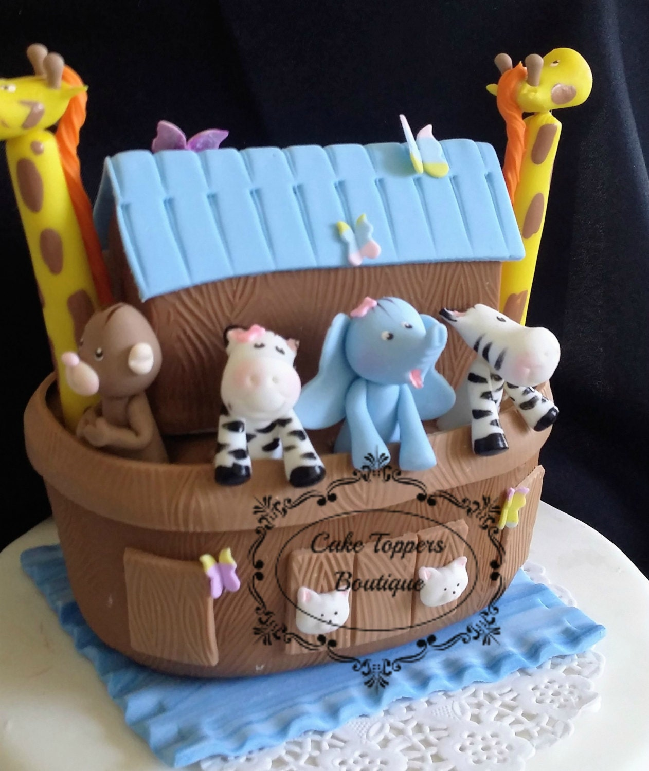 Noah 39 s ark baby shower noah 39 s ark cake topper for Noah s ark decorations