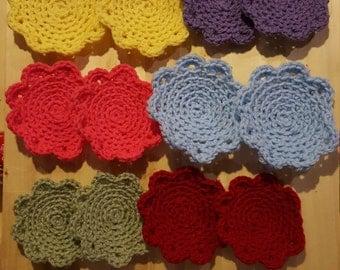 12 Set Crocheted Flower Coasters
