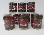 10 Vintage Christmas Themed Tumblers - Large Low Ball Glasses - Signed Houze - Seasons Greetings- Stained Glass Design - Holiday Barware -