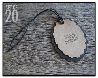 Oval Happy Birthday Gift Tag - set of 20