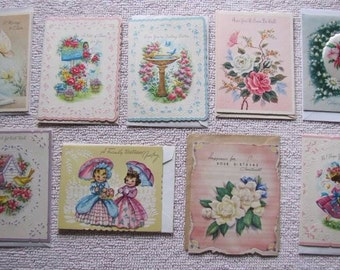 9 Vintage Happy Birthday & Get Well Greeting Cards