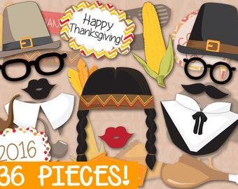 MEGA PACK Thanksgiving Photo booth Props - PRINTABLE - 36 piece - Instant Download, Print, Party - Holiday Photobooth Paper Props Diy