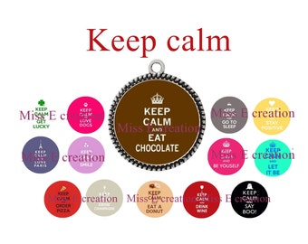 keep calm digital images for round cabochon