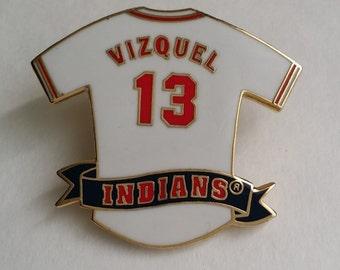 Vintage 1996 Peter David Inc. Vizquel Number 13 INDIANS Jersey Pin