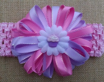 Baby Headband, Birthday Headband, Cupcake Headband, Baby Hair Accessory, Baby Girl Headband, Infant Headband, Flower Headband, Pink Headband