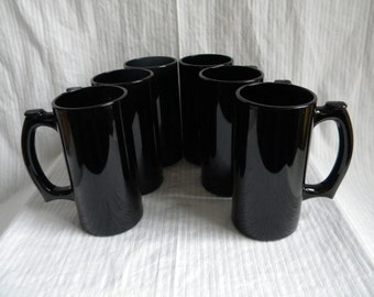 6 Tall Mugs - Black Glass - Shiny - 1990's