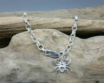 Handmade Sterling Silver Spider Bracelet