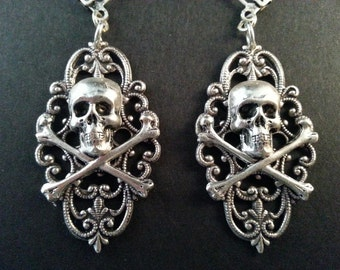 Filigree Skull Earrings , Skull Earrings , Pirate Earrings , Renaissance Earrings , Skull and Crossbone Earrings , Dawn Santucci