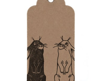 Easter Bunny Gift Tags: Brown Kraft Strung Parcel Tags with Hand Printed Rabbits. Choose Quantity - 1, 2, or 5 Tags.