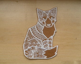 Fox Patch, Iron On or Sew On Patch , fox iron on patch applique