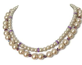 Champagne Pearl Bridal Jewelry - Bridesmaid Necklace - Champagne Bridesmaid Jewelry - Bridesmaid Jewelry - Pearl Bridal - Wedding Jewelry