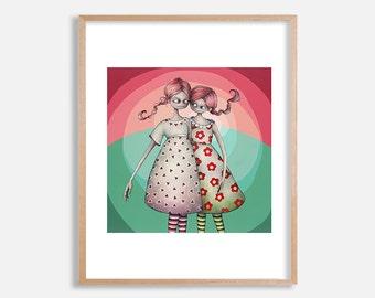 Twin Sisters art print, pop surrealism painting by Lotte Teussink, lowbrow art print, big eyed girls, big eye art, redhead girls, wall decor