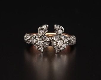 Victorian rare 1.62 Ct diamond flaming heart fede gimmel ring with secret