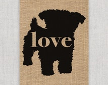 Yorkiepoo -  Burlap or Canvas / Wall Art Print for Dog Lovers: Can be Personalized (Ships Free) Print Font Option