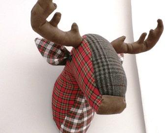 Tartan deer head-faux taxidermy-reindeer head-stag head-animal head-fabric sculpture-wall hanging