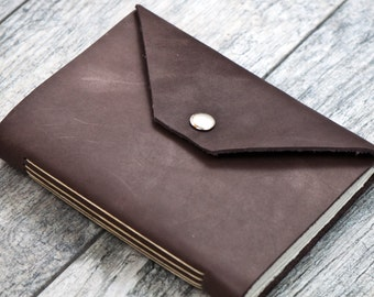 50% OFF - Snap Closure - Dark Brown Premium Leather Personalized Journal Sketchbook Notebook