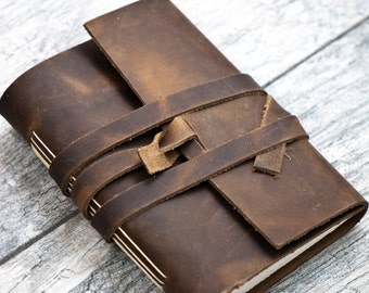 50% OFF - Rustic Brown Premium Leather Personalized Journal Sketchbook Notebook