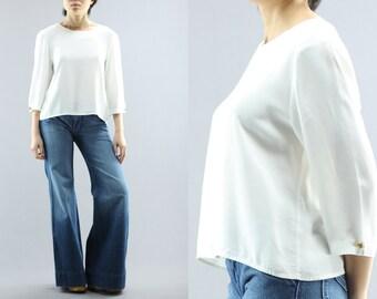 Witte kwart mouw Basic Blouse door Whirlaway jurken grootte 6P Women's 80 's Vintage