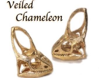 Chameleon Lizard Skull Necklace - Science Jewelry 3D Printed Veiled Chameleon Skull Pendant