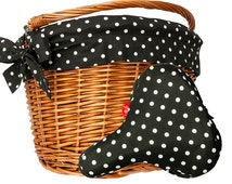 Polka Black bicycle styling set - basket, liner and reversible seat cover. Perfect for all classic bikes