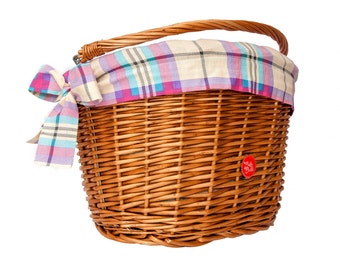 Classic Wicker Bike Basket with liner Purple Plaid, Bike Belle