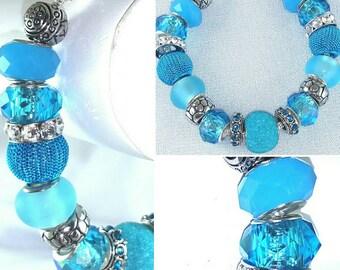 Aqua Blue & Teal Lampwork Glass and Rhinestone Bracelet Item #ABLB16
