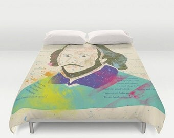 XO SALE Duvet Cover Bright and Colorful Typographic William Shakespeare Bedding, Home Interior Decoration