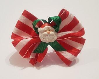 Santa Stripes Hair Bow - Girls Hair Bow - Toddler Hairbow -  Ribbon HairBow - Boutique Hair Bow - Hair Accessory -Little Hair Clip