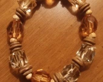 Vintage Brown Faceted Beads Stretch Bracelet