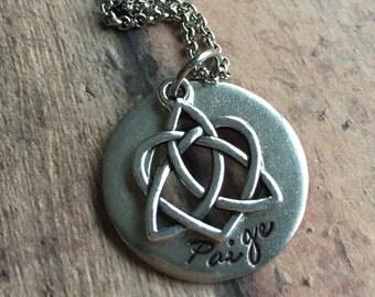 Personalized Adoption Necklace, Adoption Triad Necklace, Adoption Gift, Birthmother Gift, Foster Care, Gotcha Day Gift, Celtic Heart Charm