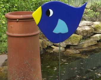 Fused Glass Bird Garden Stake