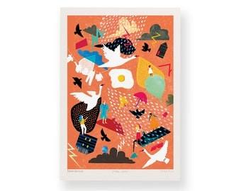 The Storm Chorus – A4 Giclée Art Print – Dawn Chorus - Weather Illustration