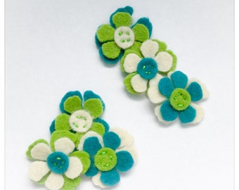 Harper x6 / Small 1 Inch Die Cut Felted Flowers / Small Embellishments / Card Making / Pocket Letters / Scrapbooking / Craft Supply /SS100