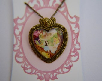 Vintage Alice in Wonderland - Alice and the Cheshire Cat necklace